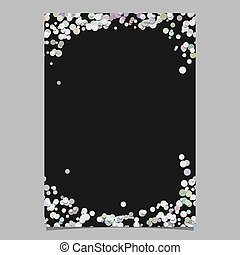 Abstract random dot design page template - vector blank poster border graphic with circles on black background