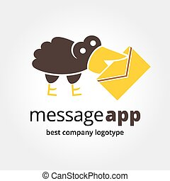 Abstract raven with mail logo icon concept isolated on white background for business design. Key ideas is business, communication, message, sotial, design. Concept for corporate identity and branding. Stock vector.