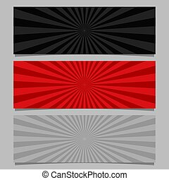 Abstract ray burst banner background set