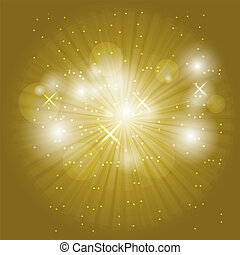 Abstract ray light on golden background