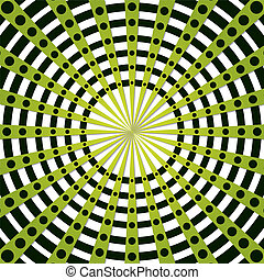 Abstract rays - Abstract green rays with dots and circles