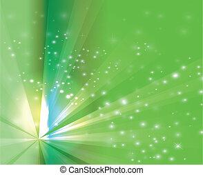 Abstract rays burst light on green