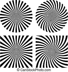 Abstract rays striped patterns on white background