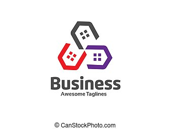 Abstract real estate agent community logo icon vector design...