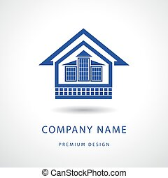 Abstract Real estate logo design template. Building silhouette Cottage.  Vector illustration