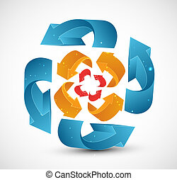 abstract recycle colorful arrows business vector