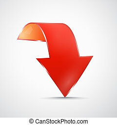 Abstract Red 3d Arrow Icon