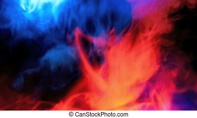 red against blue smoke