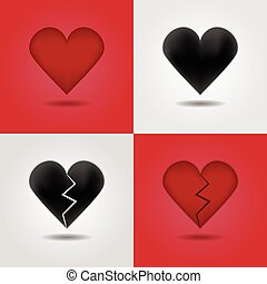 Abstract red and black hearts icons