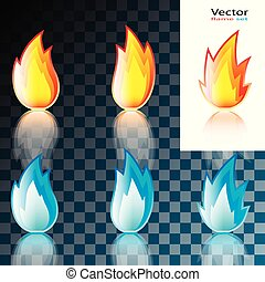Abstract Red and Blue Flame Icon