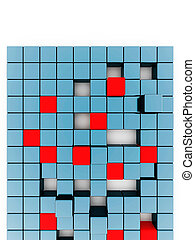 Abstract red and blue metallic cubes on a white