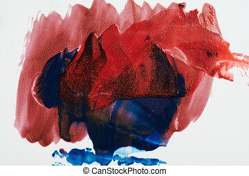 Abstract red and blue paint