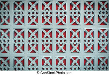 red and blue pattern on the wall
