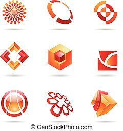 Abstract red and orange Icon Set 24 - Abstract red and...