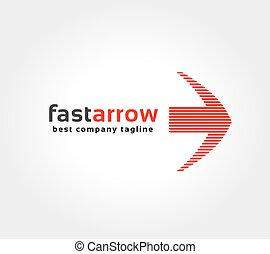 Abstract red arrow vector logo icon concept. Logotype template for branding and corporate design