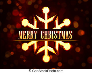 abstract red background card with golden snowflake figure, text Merry Christmas and lights dots
