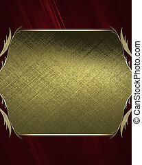 Abstract red background with a golden plate with patterns on the edges. Design template