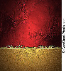 Abstract red background with gold cutout and gold ornament....