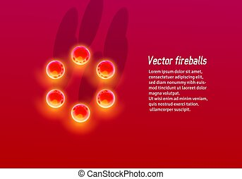 Abstract red background with hot metallic fire balls circle in unusual perspective or from top view