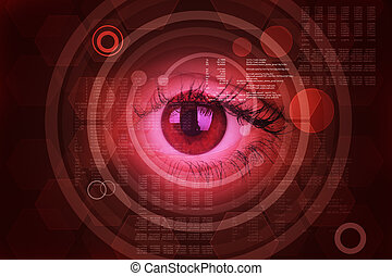 Abstract red background with human eye