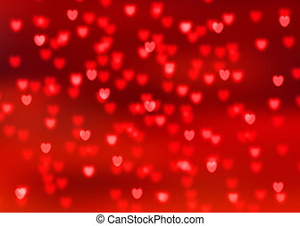 Abstract red background with red heart shaped bokeh lights