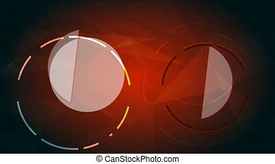 Abstract red background with rotating HUD
