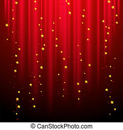Abstract red background with shooting stars.