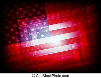 abstract red background with silhouette of American flag