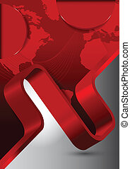 Abstract red background with wave and continents