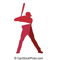 Abstract red baseball player geometric silhouette