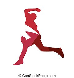 Abstract red baseball player silhouette