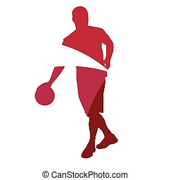 Abstract red basketball player silhouette