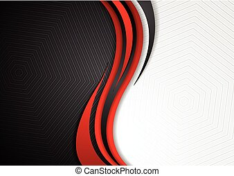 Abstract red black grey wavy tech background