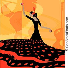 abstract red-black woman and flamenco