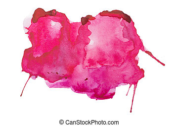 Abstract red blot, stain, ink splash watercolor aquarelle...