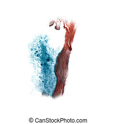 abstract Red, blue drawing stroke ink watercolor brush water col