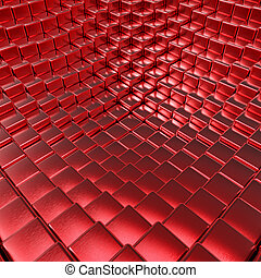 Abstract red brushed metallic cubes 3D background.
