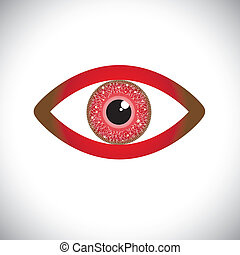 abstract red color human eye sign with circuit in iris. The...
