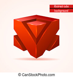 abstract red cube vector