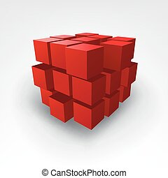 Abstract Red cube Vector Illustration