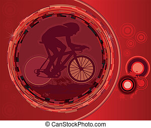 Abstract red Cycling Poster