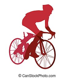 Abstract red cyclist geometric silhouette