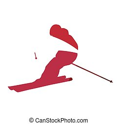 Abstract red downhill skier geometric silhouette