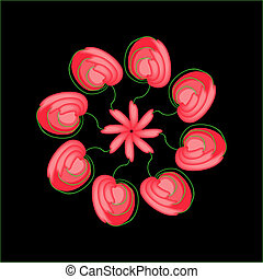 Abstract red flowers in a circle