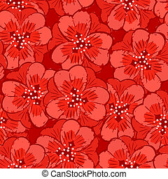 abstract red flowers seamless pattern