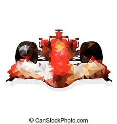 Abstract red formula racing car. Geometrical illustration. Polygonal automobile