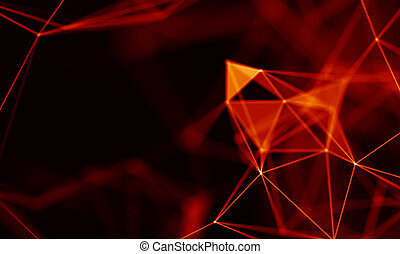 Abstract Red Geometrical Background . Connection structure....