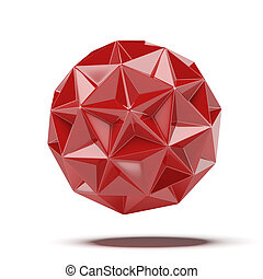 Abstract red geosphere isolated on a white background