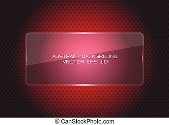 Abstract red glass banner on circle mesh