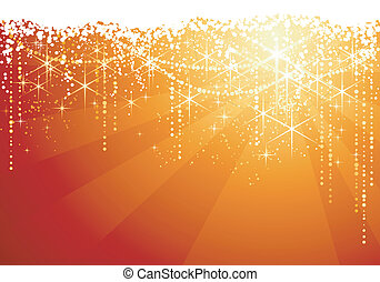 Abstract red golden background with sparkling stars for festive occasions. Great as Christmas background.